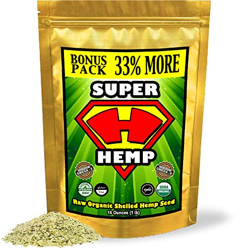Super Hemp Raw Shelled Organic Hemp Seeds w/ Omega 3 & 6 (1 lb Bonus-Pack). Essential Fatty Acids alpha-linolenic & linoleic in