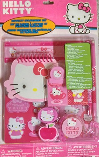 HELLO KITTY 'Novelty Stationery Set' NotePad Pencils Erasers - 1