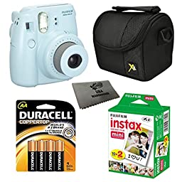 Fujifilm Instax Mini 8 Instant Film Camera 5-in-1 Set + Fuji Film Instant Film Twin Pack (Total 20 Sheets) + Compact Camera Case + Pack of AA Batteries + Lens Cleaner Cloth Bundle (Blue)