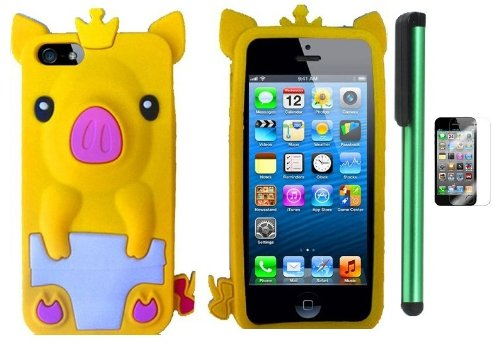 Best  Yellow Cute Pig Yellow Crown Silicone Skin Premium Design Protector Soft Cover Case Compatible for Apple Iphone 5 (AT&T, VERIZON, SPRINT) + Screen Protector Film + Combination 1 of New Metal Stylus Touch Screen Pen (4