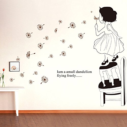 Melife® Creative House Decoration Removable Cute Cartoon Little Girl Dandelion Pattern Wall Sticker Paper Doll For Children'S Room