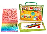 Creativ' Craft Large Drawing Stencils Art Set for Kids, Loved By Parents Golden Award 2016, More than 200 Shapes, Awesome Creativity Kit & Travel Activity, Educational for Girl and Boy, Ideal Kid Gift