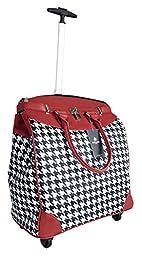 Trendy Flyer Computer/Laptop Rolling Bag 4 Wheel Case Houndstooth Red