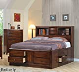 King Coaster Walnut Storage Bookcase Bed in Warm Brown Finish