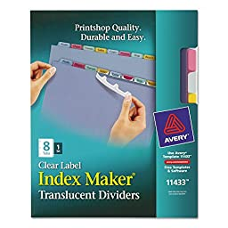 Avery Index Maker Translucent Clear Label Dividers 11433