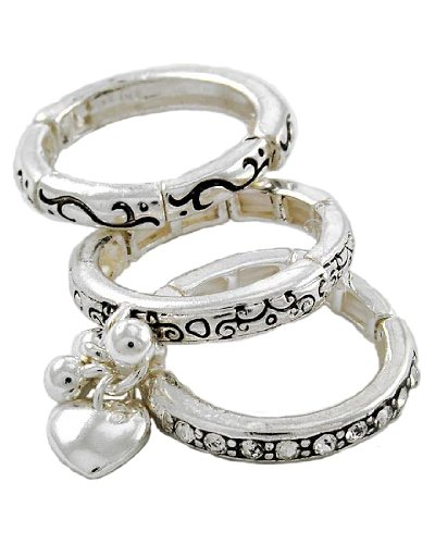 Antique Silver Tone Metal Heart Charm 3-Piece Stackable Stretch Ring