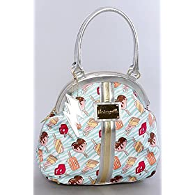 Betsey Johnson The Dome Satchel in Green Pop Art,Bags (Handbags/Totes) for Women