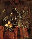 The High Quality Polyster Canvas Of Oil Painting 'Willem Van Aelst,Fruit And A Glass Of Wine,1627-1683' ,size: 12x15 Inch / 30x37 Cm ,this Beautiful Art Decorative Prints On Canvas Is Fit For Wall Art Decoration And Home Gallery Art And Gifts