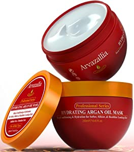 Hydrating Argan Oil Hair Mask by Arvazallia - SAVE 58% TODAY! Deep Conditioner and Restorative Treatment for Dry or Damaged Hair - Guaranteed to Repair, Restore, and Revitalize Your Hair Or Your Money Back!