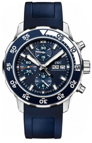 IWC Aquatimer Chronograph Blue Leather Strap Mens Watch IW376711