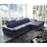 J&M Furniture 1799 Full Blue Italian Leather Sectional Sofa With Adjustable Headrests