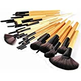 Sea Team 32 Pcs Professional Cosmetic Makeup Brush Set With Synthetic Leather Case Beige