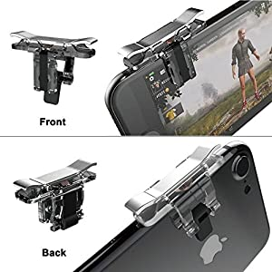 Mobile Game Controller, YOUNI Cell Phone Game Triggers - Sensitive Shoot and Aim Buttons Shooter Handgrip for Fortnite, PUBG - 1Pair(L1R1) (Silver) (Color: Silver)