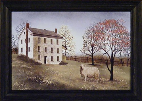 Spring At Whitehouse Farm by Billy Jacobs 15x21 Wool Sheep Salt Box House Primitive Folk Art Print Framed picture (Primitive Print Salt Box compare prices)