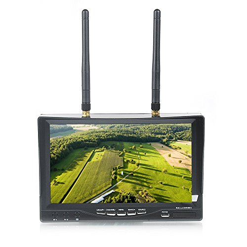 """Leaning Tech Fpv Rx-Lcd5802 5.8Ghz Hd 800*480P 7"""" Tft Lcd Monitor Receiver, Built-In Battery, Dual Buffered Av Output, Av Receiver With Diversity Inputs"""