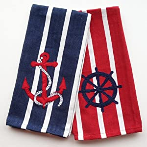 Amazon Com Kitchen Towels Nautical Dish Towel Set