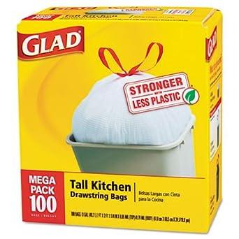 Glad Cox78526 Tall Kitchen Drawstring Trash Bags Pack Of 100