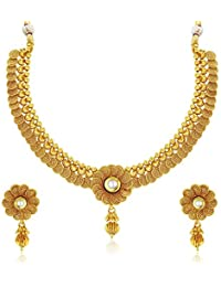 Meenaz Jewellery Gold Plated Jewellery Set With Ear Rings Traditional One Gram Copper Pearl Kundan Pendant Necklace...