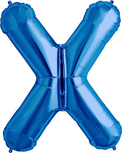 Letter X - Blue Helium Foil Balloon - 34 inch