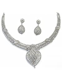 Shingar Jewellery Ksvk Jewels Fine Quality Signity Silver Plated American Diamonds Necklace Set For Women (6527...