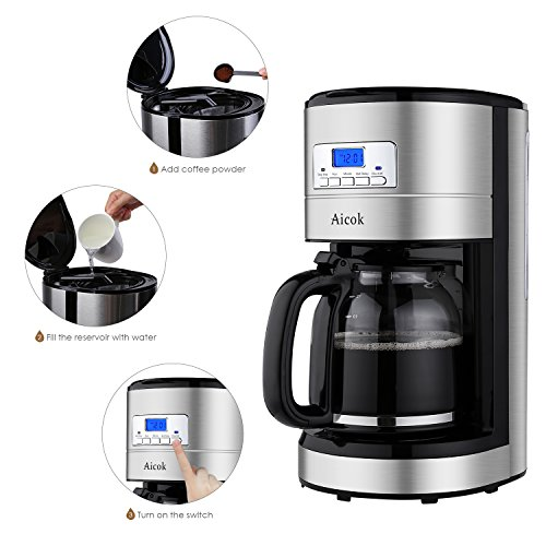 Programmable Filter Coffee Maker : Aicok 12 Cup Coffee Maker, Drip Coffee Makers, Programmable Coffee Maker with Timer and Reusable ...