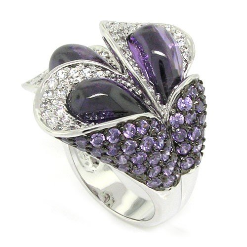 Gems in bloom Large Cocktail Ring w/White & Amethyst CZs Size 8