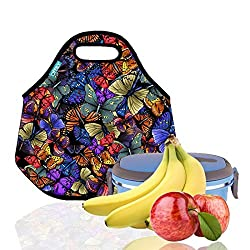 Lunch Tote, OFEILY Lunch boxes Lunch bags with Fine Neoprene Material Waterproof Picnic Lunch Bag Mom Bag (Lots of Butterflies)