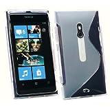 Kit Me Out JP TPUゲル ゲルケース - クリアー - Sラインウェーブパターン + マイクロファイバー・クリーニングクロス付きスクリーンプロテクター 【Nokia Lumia 800対応】