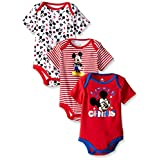 Disney Baby Mickey Mouse 3 Pack Bodysuits, Multi/Red, 3/6 Months