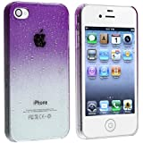 eForCity Ultra Thin Snap-On Case for Apple iPhone 4/4S - Retail Packaging - Clear/Purple Water Drop