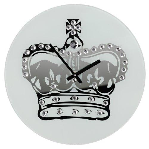 Premiere Housewares 2200597 Orologio da Parete Specchio Vetro con Corona e Diamantes