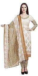Divyaemporio Women'S Faux Cotton Brown And Beige Salwar Suits Dress Material