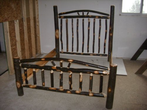 Rustic Hickory Log Bed Set, Arched Backboard - King