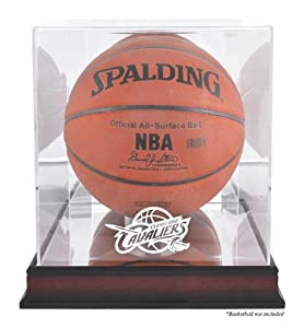 Cleveland Cavaliers Mahogany Logo Basketball Display Case with Mirror Back by Mounted Memories