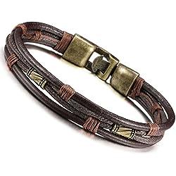 Jstyle Mens Vintage Leather Wrist Band Brown Rope Bracelet Bangle