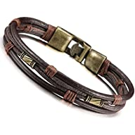 Jstyle Mens Vintage Leather Wrap Wris…