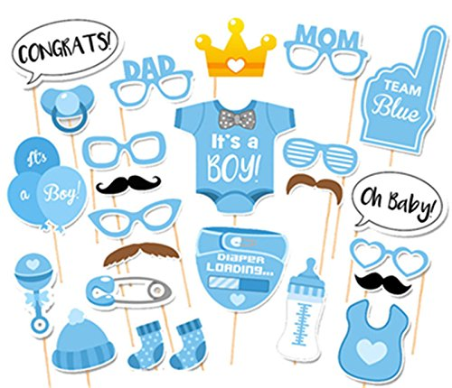 Elfun(TM) It Is A Boy Baby Shower Birthday Party Gender Reveal Photo Booth Props Set Blue on A Stick -25 count (Photo Booth Props Baby Shower compare prices)