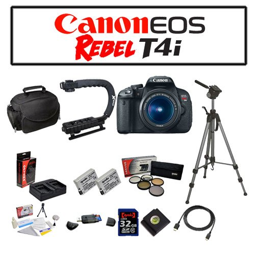 Canon EOS Rebel T4i Digital Camera with EF-S 18-55mm f/3.5-5.6 IS II Lens with Starters Bundle Kit Including Opteka Microfiber Deluxe Camera Gadget Bag, Opteka X-GRIP Professional Camera / Camcorder Action Stabilizing , Opteka OPT-7000 Professional Photo / Video 70″ Tripod and MORE!