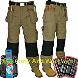 Click Hexham Canvas Triple Stitch Work Trouser Nail Pocket Combat FREE KNEE PADS
