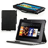 Poetic HardBack Protective Case for Kindle Fire HD 7 Carbon Fiber (Automatically Wakes and Puts Kindle Fire HD 7 Tablet to Sleep)(Intergrated HandStrap)(Has Open Slot for Charger Port)(3 Year Manufacturer Warranty From Poetic)