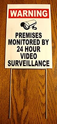 "1Pc Amazing Modern Security Yard Signs CCTV Anti-Burglar Camera Protection Anti-Robber Surveillance Size 8"" x 12"" with Stake"