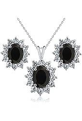 2.63 Ct Oval Black Onyx 925 Sterling Silver Pendant Earrings Set