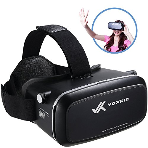 "Virtual Reality Headset 3D VR Glasses by Voxkin - High Definition Optical Lens, Fully Adjustable Strap, Focal and Object Distance - Perfect VR Headset for iPhone, Samsung and any Phones 3.5"" to 6"""