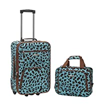 Rockland Rio Upright Carry-On & Tote 2-Piece Luggage Set - Blue Leopard