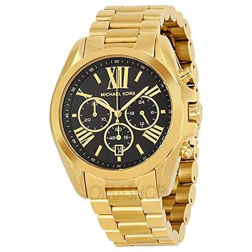 Michael Kors Michael Kors Tamaño mediano Bradshaw Cronógrafo Negro Dial Oro Tono Damas Reloj MK5739
