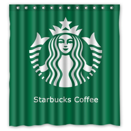 "Starbuck Coffee Logo Drink Green White Waterproof Poloyester Fabric Shower Curtain Size 66""X 72"" back-518480"