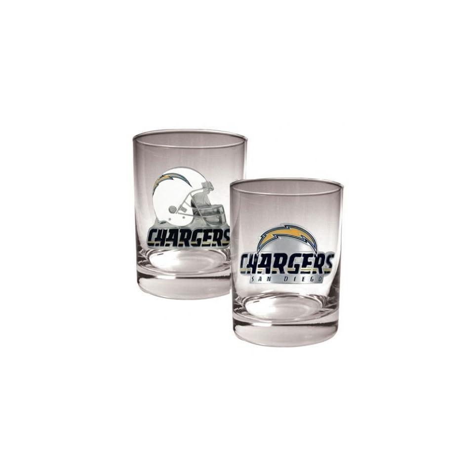 San Diego Chargers NFL 2pc Rocks Glass Set Sports