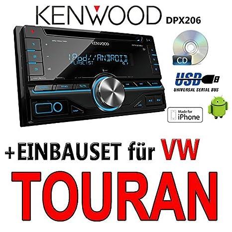 Volkswagen touran pour autoradios kenwood dPX 206-2DIN uSB avec kit de montage