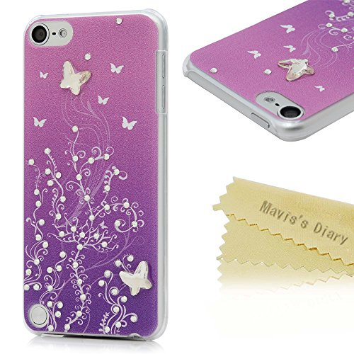 Touch 5 Case,iPod Case - Mavis's Diary 3D Handmade Bling Crystal Sparkle Rhinestone Butterfly Shiny Diamonds Fashion Vine Pink Pattern Clear Hard PC Cover For iPod Touch 5th Generation (Ipod 5 Cases Pink Gems compare prices)