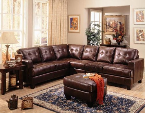 Inland Empire Furniture Powell Dark Brown Bonded Leather Sofa Sectional with Ottoman